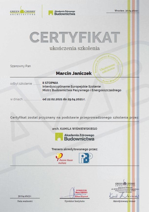Certyfikat domy pasywne Marcin Janiczek
