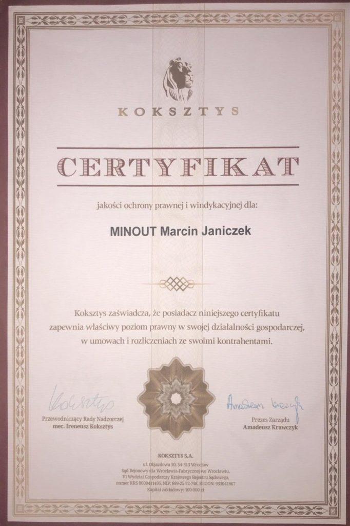 Certyfikat Marcin Janiczek - kierownik budowy